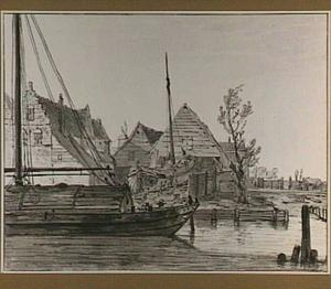 Stadsgezicht met scheepswerf