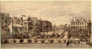 """Gezicht op de """"Old Palace Yard"""" in Westminster vanuit het zuiden"""