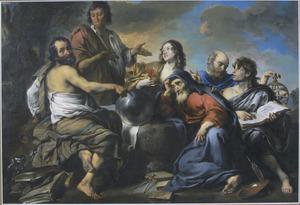 Democritus en Heraclitus omringd door diverse allegorische figuren en attributen