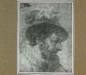 Kop van een man met hoed en molensteenkraag
