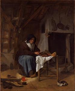 Oude vrouw aan de maaltijd