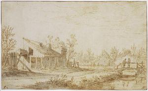 Landschap met schuur, boerderij en figuren op een brug
