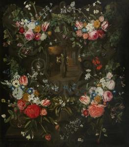Heilige Antonius met Christuskind in een cartouche met bloemenkrans
