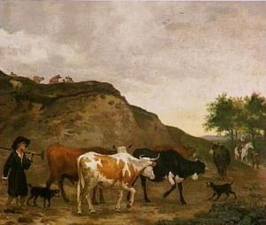 Landschap met een kudde koeien op een zandweg