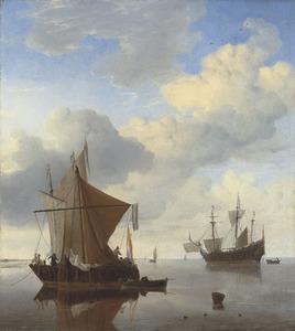 Twee smalschepen voor anker; rechts op de achtergrond een Engels oorlogsschip