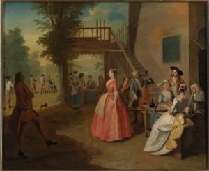 Dansend paar bij musicerend gezelschap voor het huis