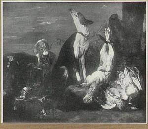 Jachtbuit van haas en gevogelte bewaakt door twee honden