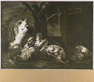 Patrijs, snip en zangvogels bij een vogelkooi; links een hond