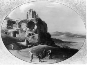 Landschap met ruïnes, figuren en een ezel
