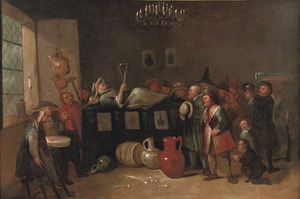 Rokende en drinkende boeren bezoeken een vrouw op haar ziekbed; een allegorie op de negatieve effecten van alcohol en tabak