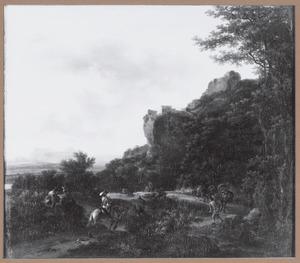 Zuidelijk berglandschap met reizigers onderweg en rustend langs de kant van de weg, links een tekenaar