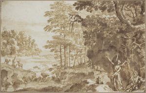 Landschap met de profeet Elia gewekt door een engel op de berg Horeb (I Koningen 19:5-6)