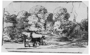 Landschap met bomen en ruiter te paard