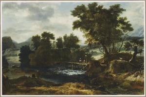 Berglandschap met reizigers op een brug over een waterval