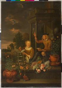 Jonge vrouw met een vogel en een bellenblazende jongen bij een huis