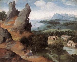 Landschap met de vlucht naar Egypte. In de achtergrond de kindermoord te Bethlehem