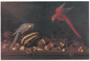 Stilleven met vruchten, bloemen en twee papegaaien