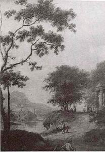 Heuvelachtig landschap met reizigers en geheel rechts een kapel met daarin een standbeeld