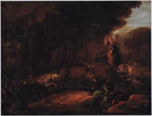 Boslandschap met Diana (?) op zwijnenjacht