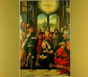 De nederdaling van de H. Geest (op de buitenzijde: de H. Libertus)