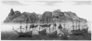 Een Hollandse vloot voor anker op de rede van St. Helena