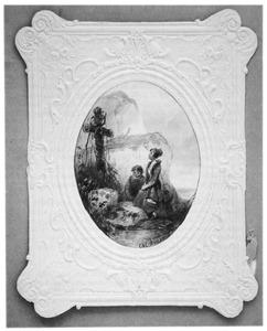 Vrouw en kind knielend voor een kruis op een rots