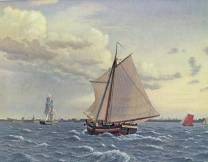 Sloep op het punt om de buitenhaven van Kopenhagen in te varen