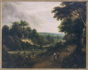 Heuvellandschap met boeren op een weg langs een bos, op de achtergrond hooiende boeren