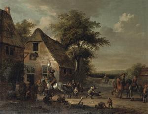 Gezicht op een dorp met boeren die het spel 'ganstrekken' spelen