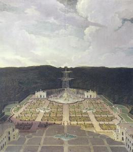 Zicht op op de residentie van Landgraf Karl van Kassel, van de tuin tot het octagon