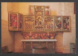 De geboorte van Maria, de presentatie in de tempel van Maria (binnenzijde linkerluiken); De bruiloft van Maria, de geboorte van Christus, de heilige familie, de aanbidding van de koningen (midden); De vlucht naar Egypte, Christus in de tempel (binnenzijde rechterluiken); De doopsel van Jezus, H. Johannes op Patmos (binnenzijde bovenluiken)