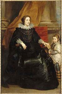 Portret van een vrouw, zittend ten voeten uit met haar dochtertje