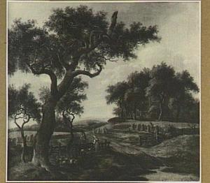 Landschap met een jager en een boerenvrouw converserend bij een hek