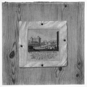 Trompe l'-oeil van een prent van de Bastille in Parijs op een houten wand