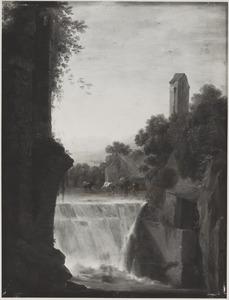 Italianiserend landschap met waterval en koeien