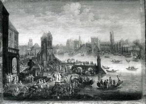 Gezicht op een stad in het water met een rijke gevel