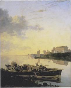 Zuidelijk rivierlandschap met volgeladen boot