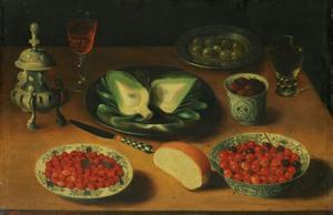 Stilleven met aardbeien, frambozen en artisjokken