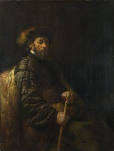 Zittende man met een stok