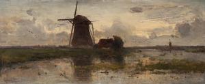 Molens in een polderlandschap