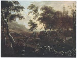 Zuidelijk boslandschap met hertenjacht