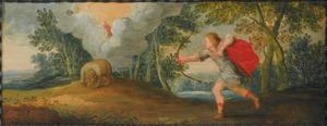 Kunstkastje beschilderd met taferelen uit de klassiek mythologie: Arcas schiet op zijn in een beer veranderde moeder Callisto; op de achtergrond wordt hij door Jupiter in het sterrenbeeld de Kleine Beer veranderd