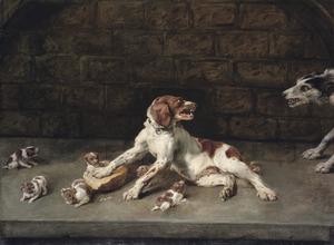 Een hond die een andere hond en haar puppies bedreigt