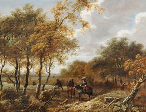Landschap met ruiters en wandelaars bij een bosrand