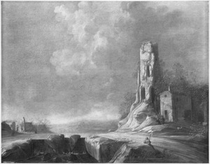 Landschap met vervallen toren