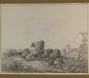 Landschap met koeien, slapende herder en de ruïne van Huis te Merwede