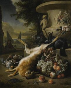 Stilleven met dode haas, patrijs, ijsvogel en een mand met fruit aan de voet van een tuinvaas in een tuin