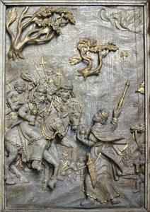 De drie wijzen onderweg naar Bethlehem, detail van de preekstoel uit de kerk van Asperup (Denemarken)