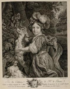 Portret van een jongen met een hert en een hond