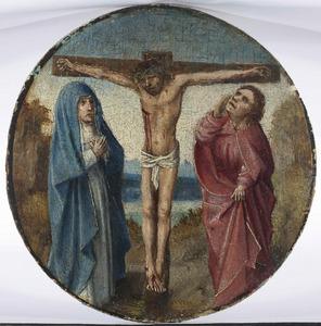 De gekruisigde Christus met Maria en Johannes